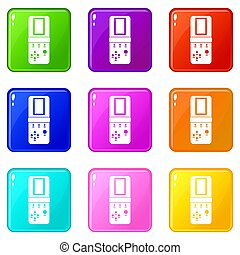 Tetris icons of 9 color set isolated illustration