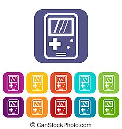 Tetris icons set illustration in flat style in colors red, blue, green, and other