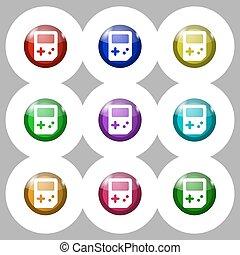 tetris, ikon, cégtábla., jelkép, képben látható, kilenc, kerek, színpompás, buttons., vektor