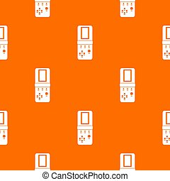 Tetris pattern repeat seamless in orange color for any design. geometric illustration