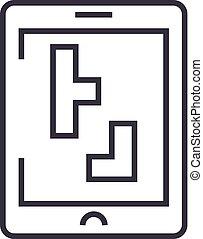 tetris vector line icon, sign, illustration on background, editable strokes
