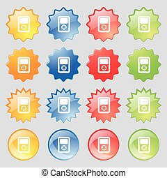 Tetris, video game console icon sign. Set from fourteen multi-colored glass buttons with place for text. Vector