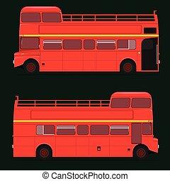 tetto, londra, decker, doppio, city., illustrazione, mezzo, eps10, vettore, rosso, top., autobus
