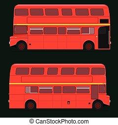 tetto, londra, decker, doppio, city., illustrazione, pieno, eps10, vettore, rosso, top., autobus
