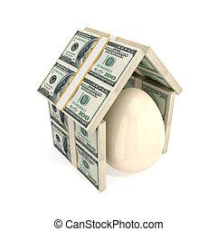 tetto, soldi., sotto, guscio uovo, fatto