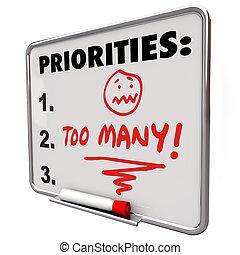 teveel, priorities, verpletterend, om lijst te doen, taken,...