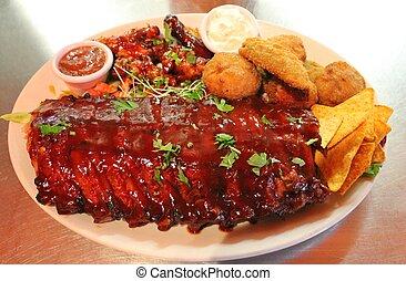 Tex-mex BBQ ribs and wings platter - Tex mex BBQ ribs and...