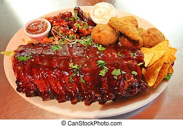 Tex-mex BBQ ribs and wings platter - Tex mex BBQ ribs and...