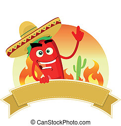 Illustration of a mexican banner with red hot chili pepper character and sombrero