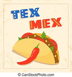 tex mex taco on white background