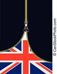 tex, zipper, vlag, open, plek