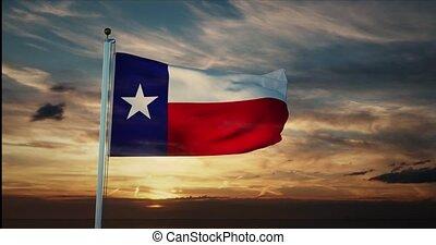 texan, état, usa, 4k, drapeau, amérique, -, texas, représente, onduler