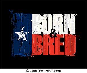 texan, bred, -, n, urodzony, bandera