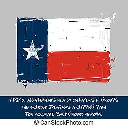 Texan Flag Flat - Artistic Brush Strokes and Splashes