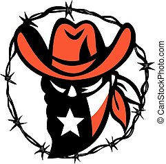 Icon style illustration of a Texan outlaw or bandit wearing a mask with Texas flag framed with a circular barb wire on isolated background.