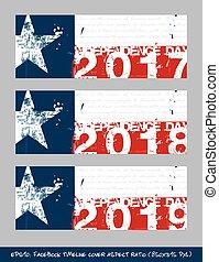 Texano, golpes,  timeline,  -, cobertura, bandeira, escova, esguichos, Dia, independência, artisticos