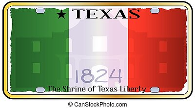 Texas Alamo License Plate - Texas state license plate with...
