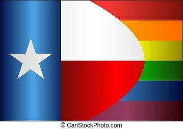 texas, bandery, grunge, wesoły