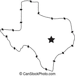 Texas Barb Wire - This is a vector of Texas made form barb...