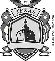 Texas Battleship Badge Grayscale - Mascot icon illustration...