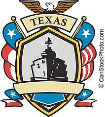 Texas Battleship Emblem Retro - Retro style illustration of...