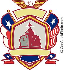 Texas-battleship-flag-eagle-SHIELD-v2-color - Icon retro...