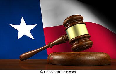 texas, concept, légal, droit & loi, système