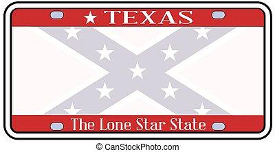 Texas Confederate Flag Plate