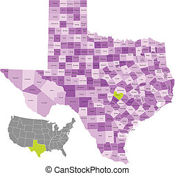 Texas state counties map with boundaries and names . Eps file contains separate layers with county name, boundaries and layer with counties. Map source from public domain: Software Used : Adobe Illustrator CS3 File Created : 12 August 2011