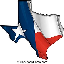 Texas map cut-out, highly detailed on the edge's shading, with a waving Texan Flag underneath.