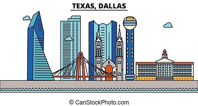 Texas, Dallas.City skyline: architecture, buildings, streets, silhouette, landscape, panorama, landmarks, icons. Editable strokes. Flat design line vector illustration concept.