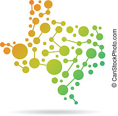 Texas dot and lines map image. Conc