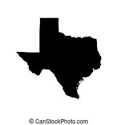 texas, etats-unis, arrière-plan., blanc, carte état