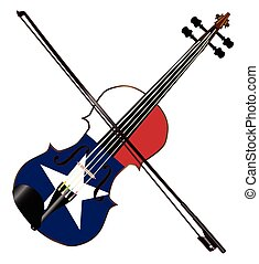 Texas Fiddle - A typical violin with Texan flag and bow...
