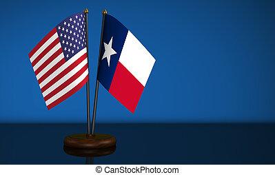 Texas Flag And USA Desk Flags - Texas State flag and USA ...