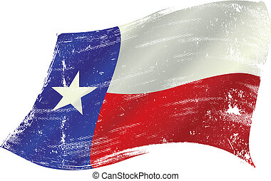 Texas flag grunge - flag of Texas in the wind with a texture