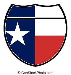 Texas Flag In An Interstate Sign