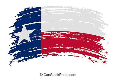 Texas flag in grunge brush stroke, vector