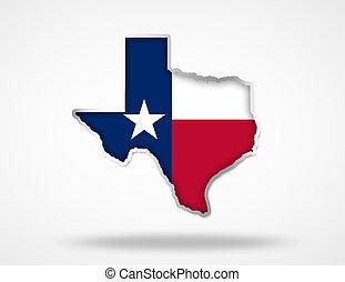 Texas flag map 3d illustration icon