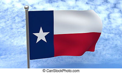 Texas Flag on Blue sky background