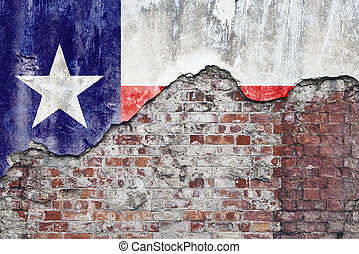 Texas Flag On Grungy Wall - Grungy old brick wall with State...