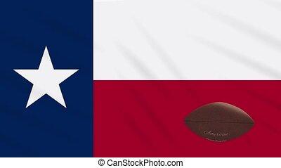 Texas flag waving and american football ball rotates, loop