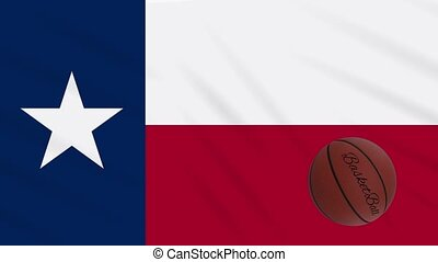 Texas flag waving and basketball ball rotates, loop