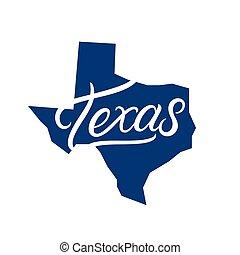 Texas hand written lettering logo