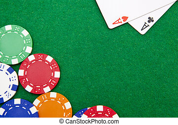 Texas holdem pocket aces on casino table with copy space and...