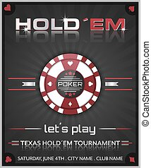 Texas holdem poker tournament poster. Vector illustration with poker chip symbol.