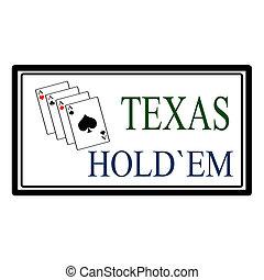 Texas hold em label, vector illustration