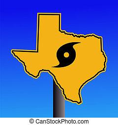 Texas hurricane warning sign - Texas warning sign with...