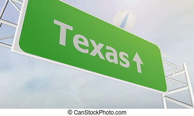Texas indication location highway road sign with airplane fly