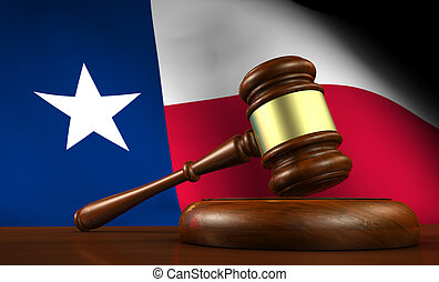 Texas law, legal system and justice concept with a 3d render of a gavel on a wooden desktop and the Texan flag on background.